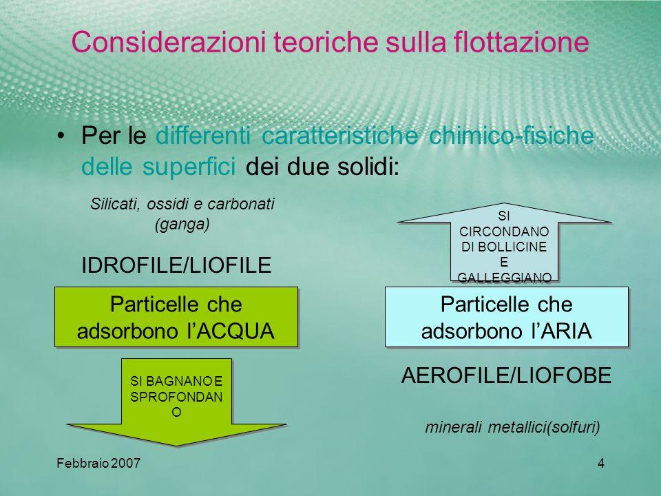 Considerazioni teoriche sulla flottazione