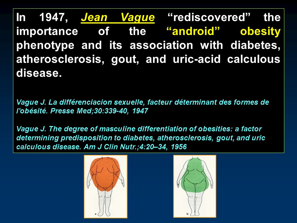 In 1947, Jean Vague rediscovered the importance of the android obesity phenotype and its association with diabetes, atherosclerosis, gout, and uric-acid calculous disease.