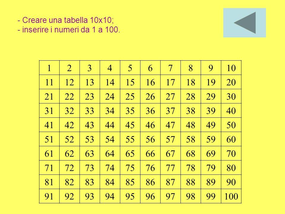 - Creare una tabella 10x10; - inserire i numeri da 1 a 100.