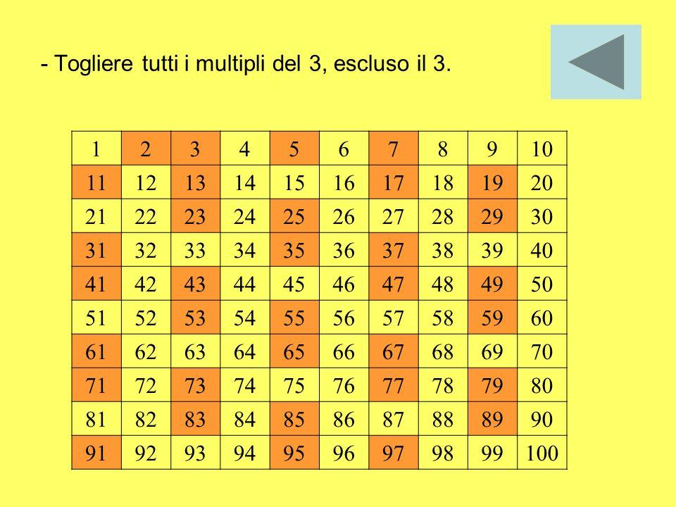 - Togliere tutti i multipli del 3, escluso il 3.