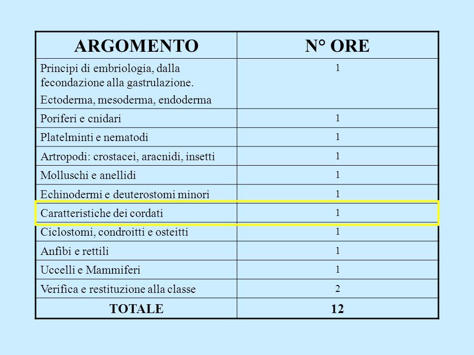 ARGOMENTO N° ORE TOTALE 12