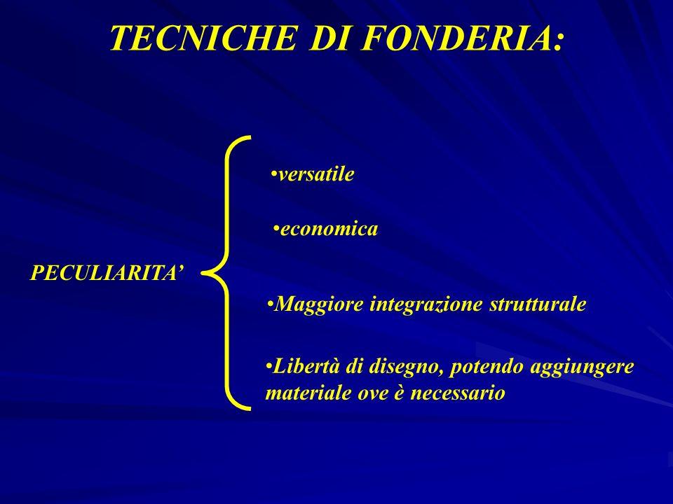 TECNICHE DI FONDERIA: versatile economica PECULIARITA'