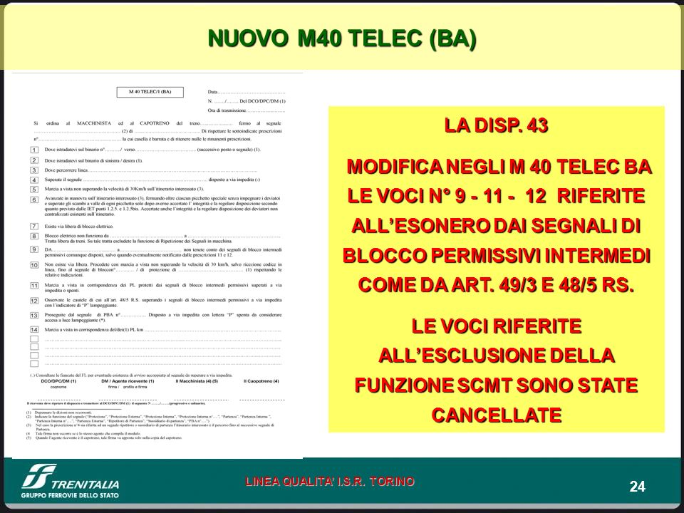 NUOVO M40 TELEC (BA) LA DISP. 43