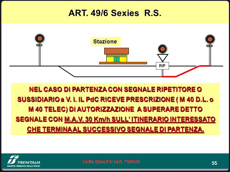 ART. 49/6 Sexies R.S. Stazione. RIP.