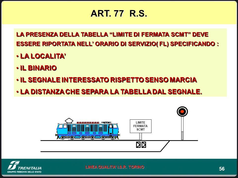ART. 77 R.S. LA LOCALITA' IL BINARIO