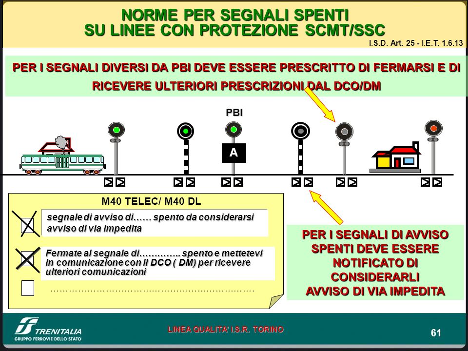 NORME PER SEGNALI SPENTI SU LINEE CON PROTEZIONE SCMT/SSC