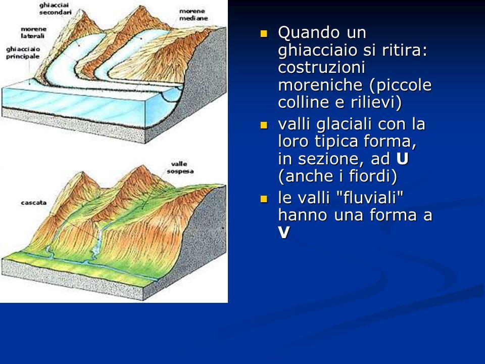 Quando un ghiacciaio si ritira: costruzioni moreniche (piccole colline e rilievi)