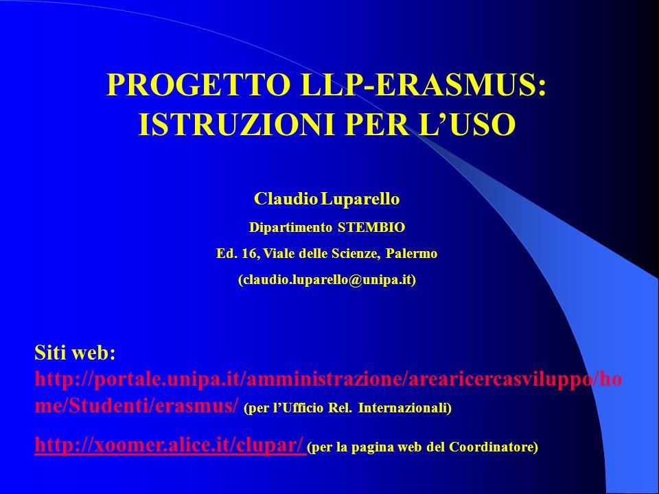 PROGETTO LLP-ERASMUS: ISTRUZIONI PER L'USO