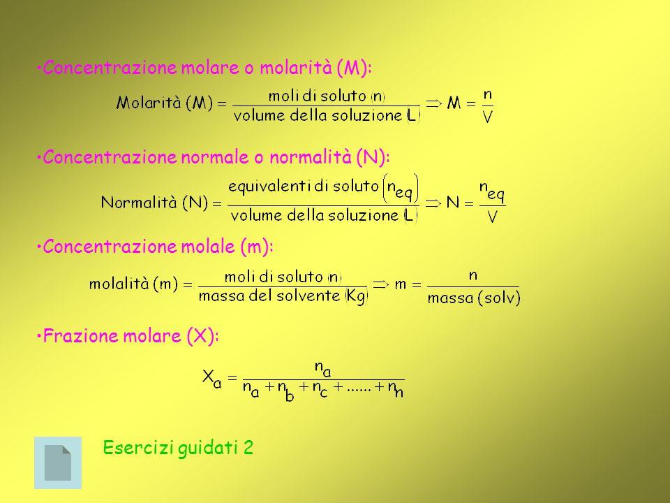 Concentrazione molare o molarità (M):