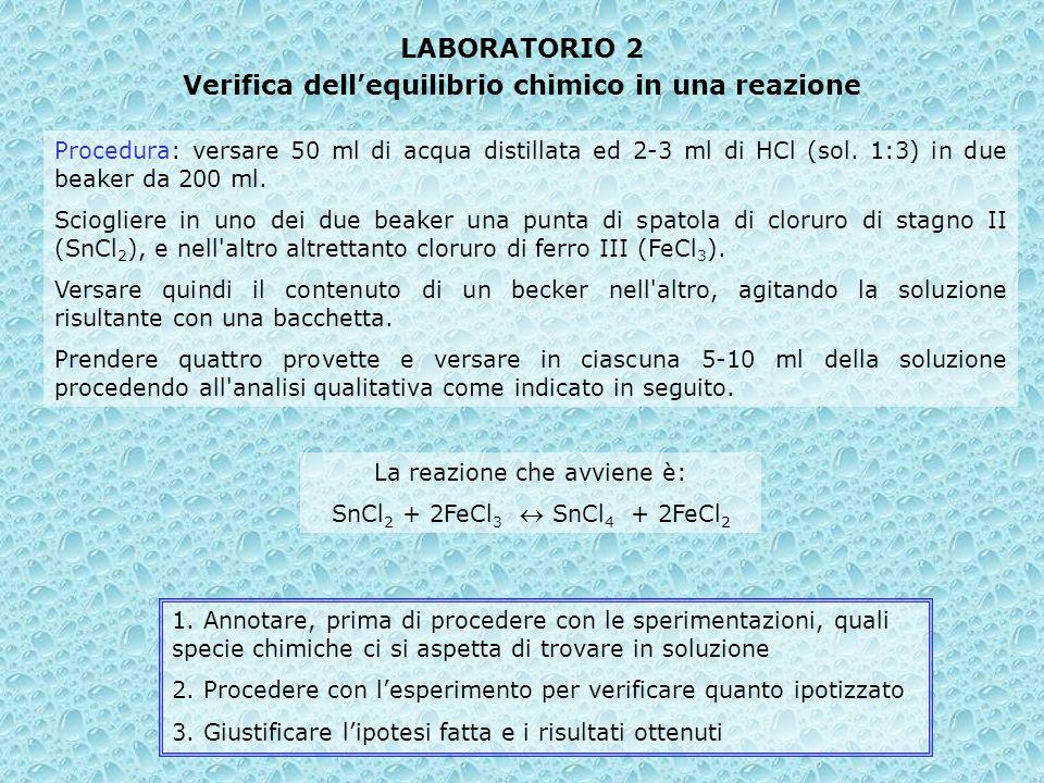 Verifica dell'equilibrio chimico in una reazione