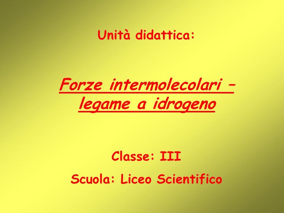 Forze intermolecolari – legame a idrogeno Scuola: Liceo Scientifico