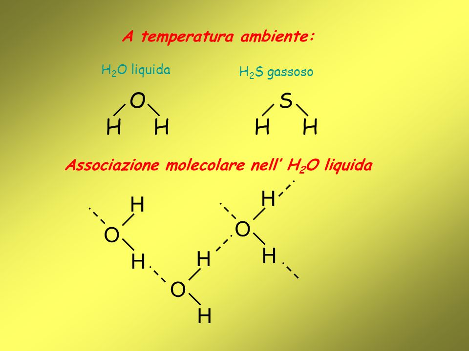 A temperatura ambiente: Associazione molecolare nell' H2O liquida