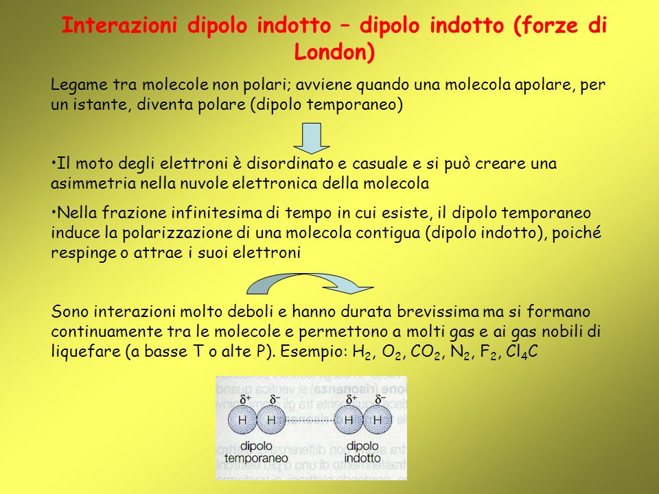 Interazioni dipolo indotto – dipolo indotto (forze di London)