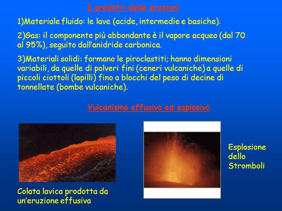 I prodotti delle eruzioni Vulcanismo effusivo ed esplosivo