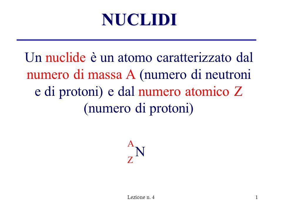 NUCLIDI Un nuclide è un atomo caratterizzato dal numero di massa A (numero di neutroni e di protoni) e dal numero atomico Z (numero di protoni)