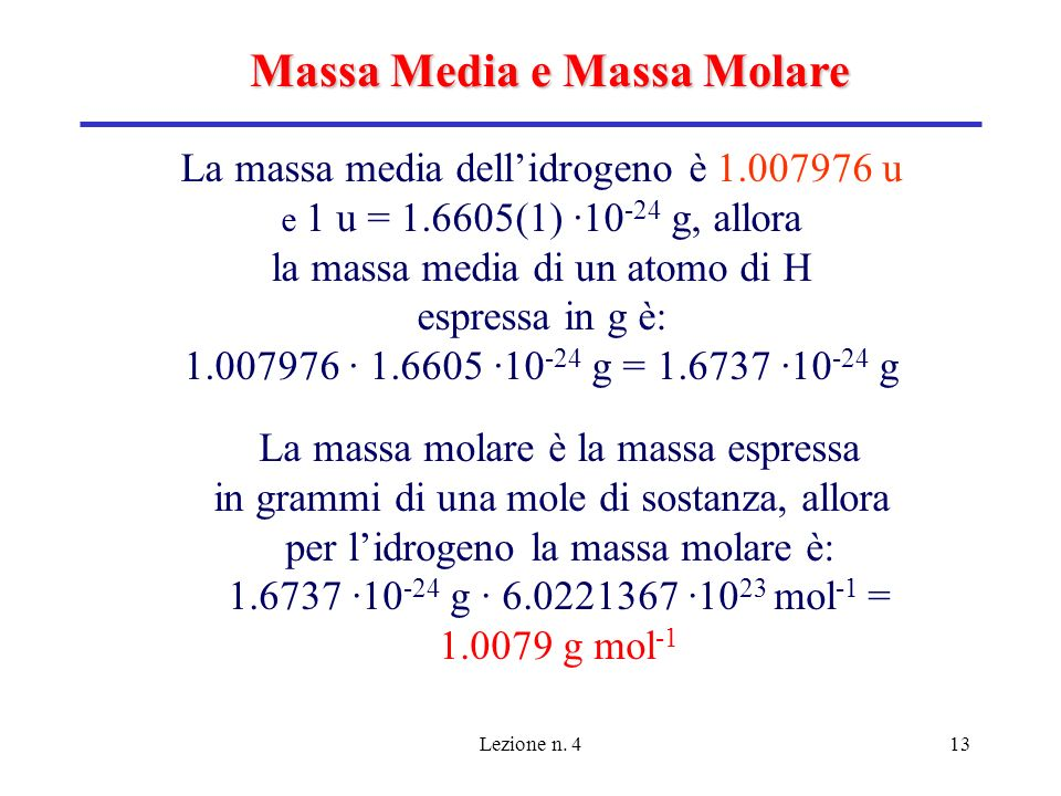 Massa Media e Massa Molare