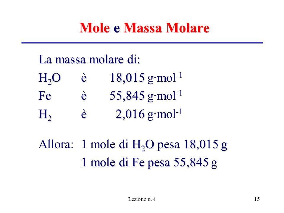 Mole e Massa Molare La massa molare di: H2O è 18,015 g·mol-1