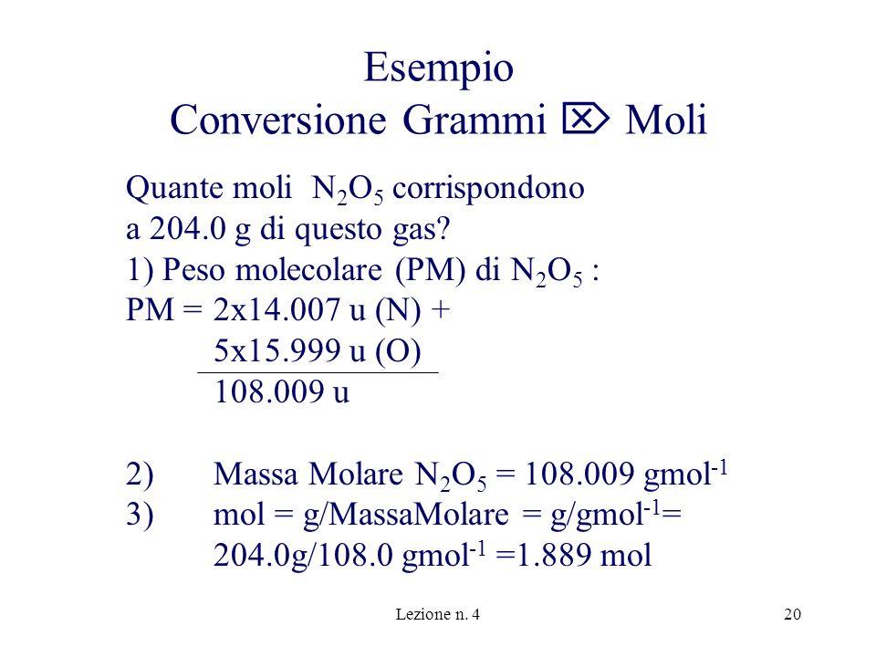 Esempio Conversione Grammi  Moli