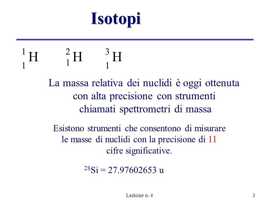 Isotopi H H H La massa relativa dei nuclidi è oggi ottenuta