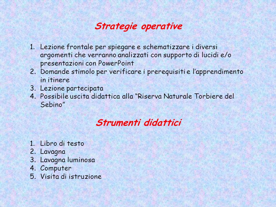 Strategie operative Strumenti didattici