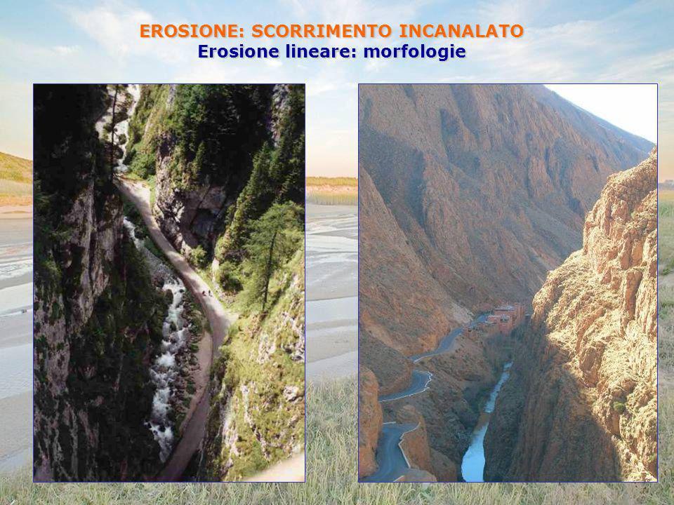 EROSIONE: SCORRIMENTO INCANALATO Erosione lineare: morfologie