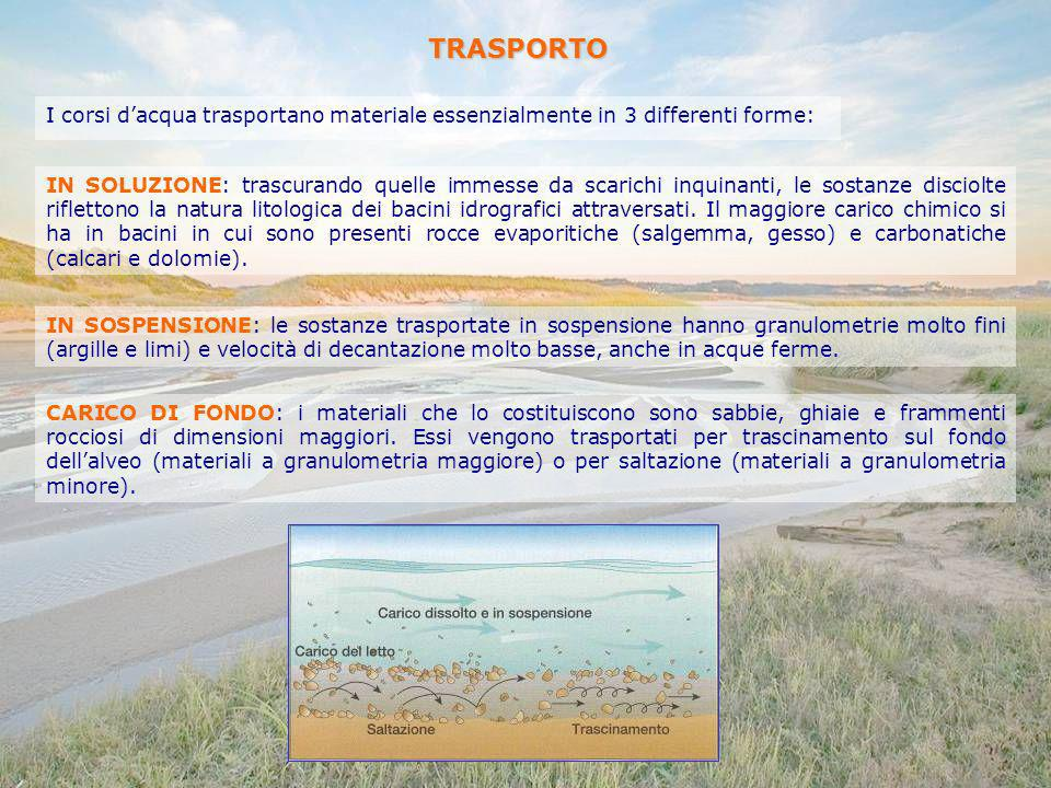 TRASPORTO I corsi d'acqua trasportano materiale essenzialmente in 3 differenti forme: