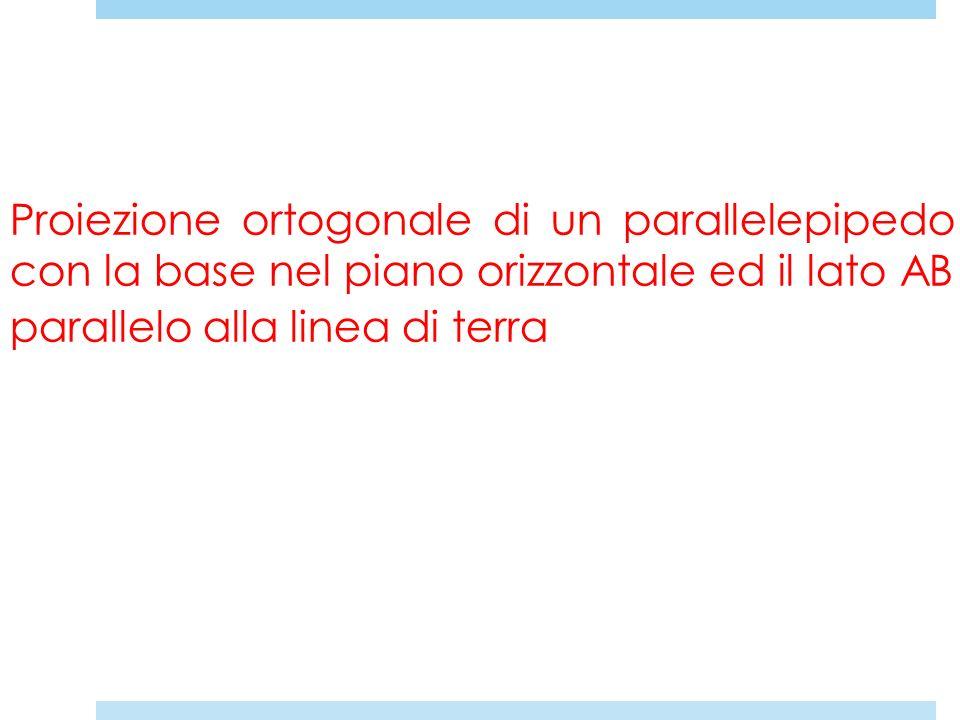 Proiezione ortogonale di un parallelepipedo con la base nel piano orizzontale ed il lato AB parallelo alla linea di terra
