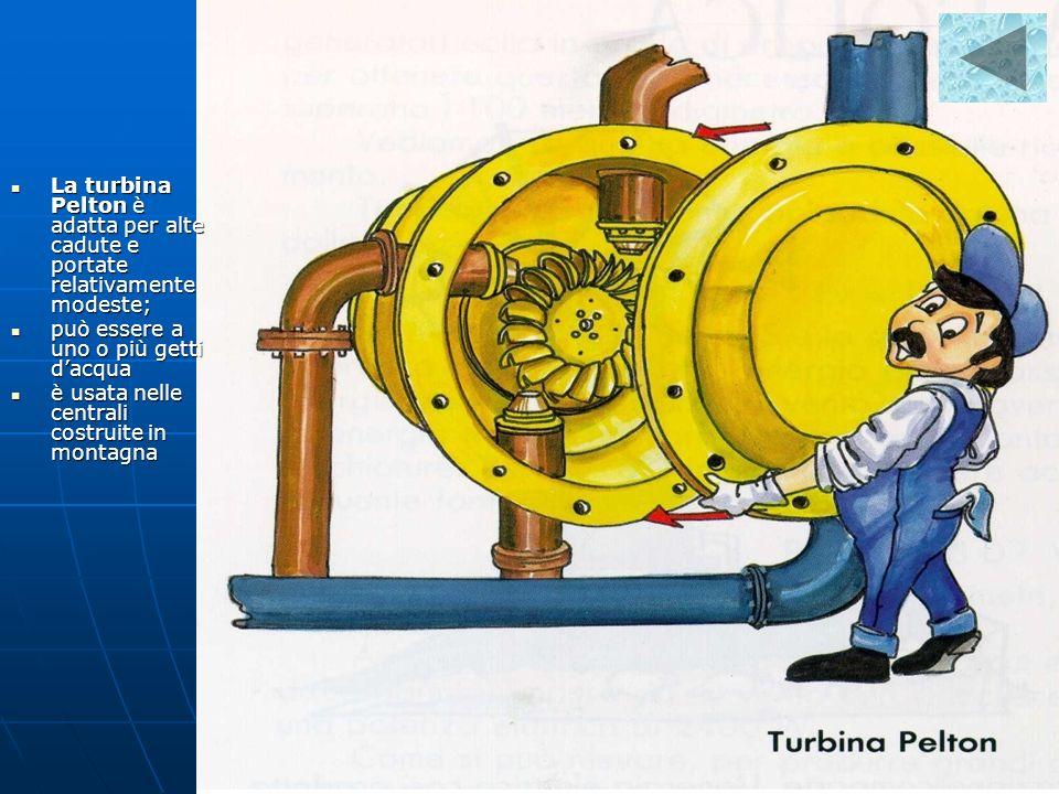 La turbina Pelton è adatta per alte cadute e portate relativamente modeste;