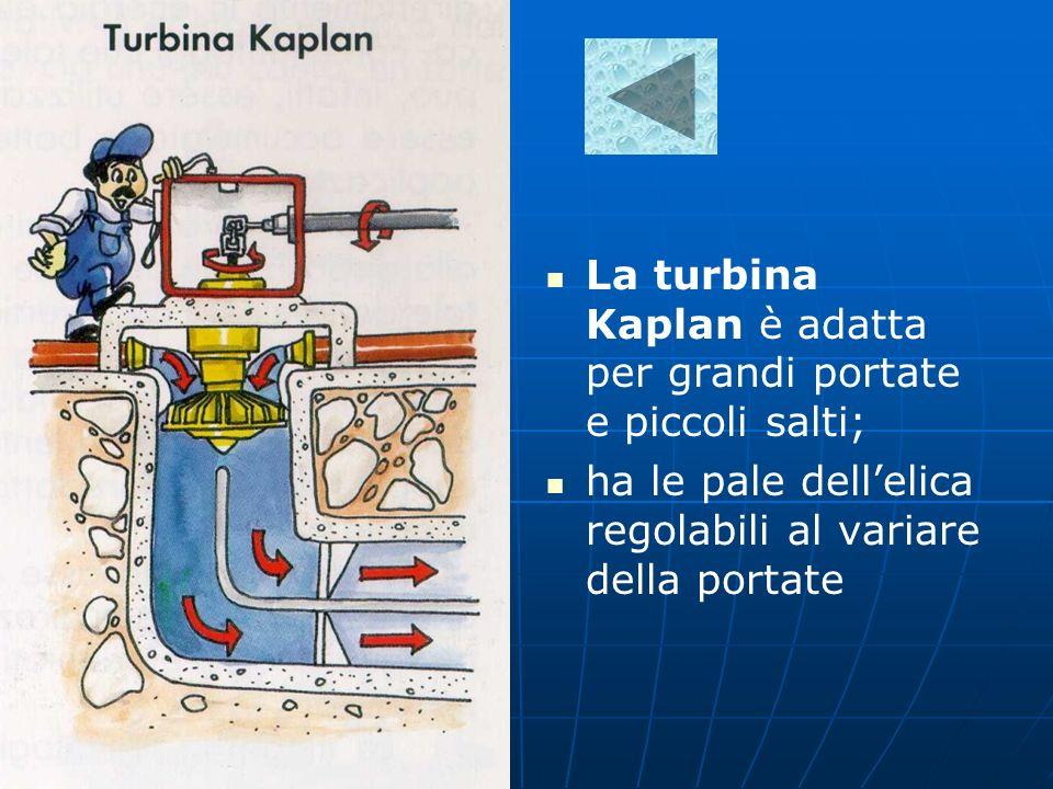La turbina Kaplan è adatta per grandi portate e piccoli salti;