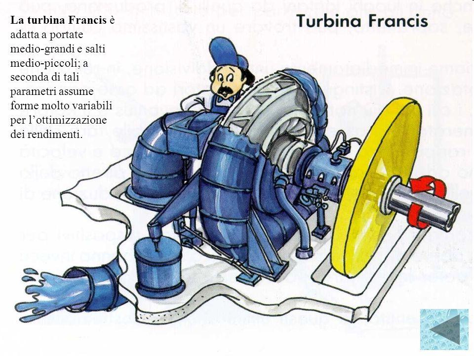 La turbina Francis è adatta a portate medio‑grandi e salti medio‑piccoli; a seconda di tali parametri assume forme molto variabili per l'ottimizzazione dei rendimenti.
