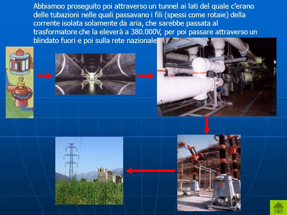 Abbiamoo proseguito poi attraverso un tunnel ai lati del quale c'erano delle tubazioni nelle quali passavano i fili (spessi come rotaie) della corrente isolata solamente da aria, che sarebbe passata al trasformatore che la eleverà a 380.000V, per poi passare attraverso un blindato fuori e poi sulla rete nazionale