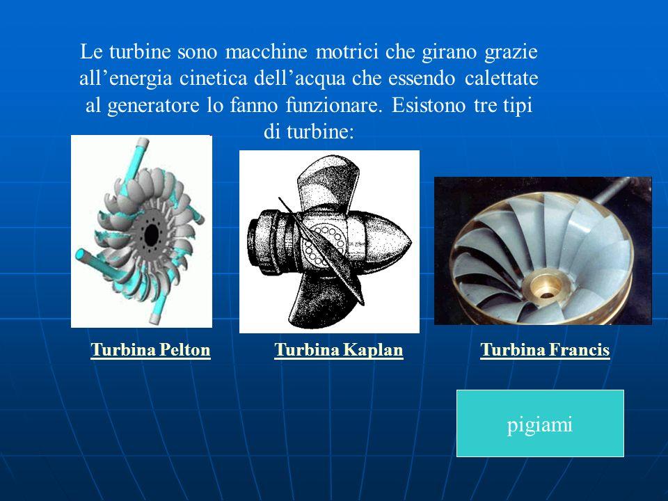 Le turbine sono macchine motrici che girano grazie all'energia cinetica dell'acqua che essendo calettate al generatore lo fanno funzionare. Esistono tre tipi di turbine: