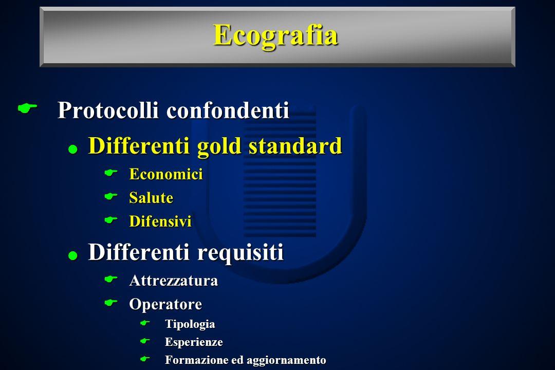 Ecografia Protocolli confondenti Differenti gold standard