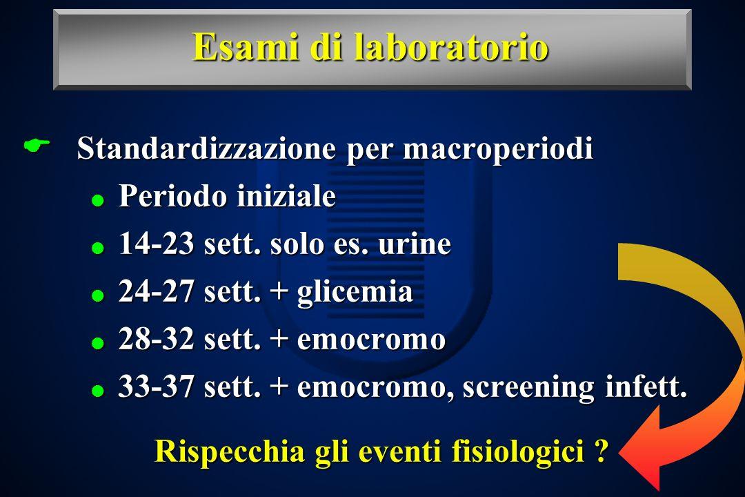 Esami di laboratorio Standardizzazione per macroperiodi