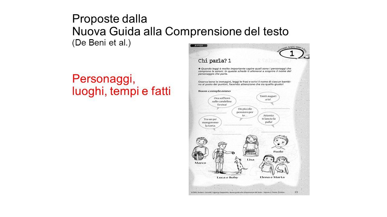 Proposte dalla Nuova Guida alla Comprensione del testo (De Beni et al