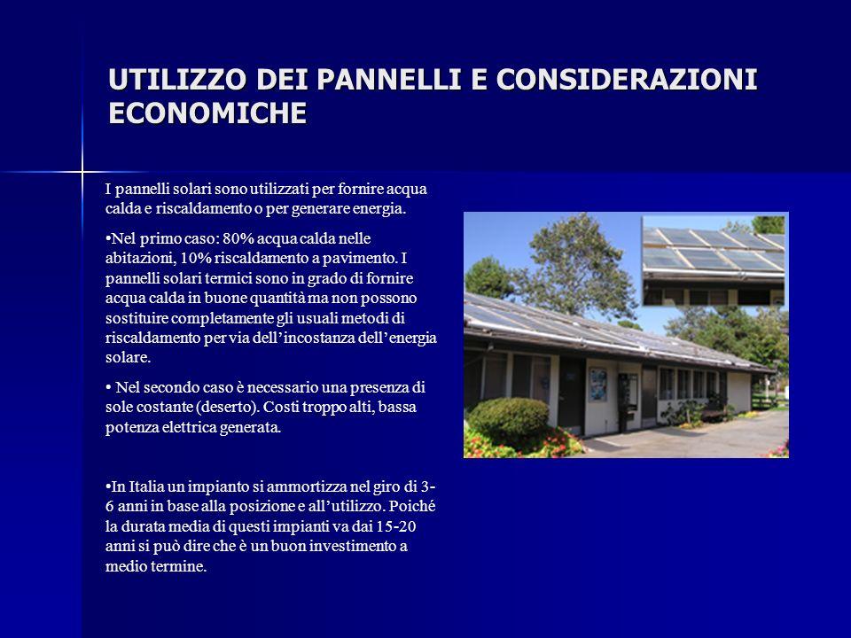 UTILIZZO DEI PANNELLI E CONSIDERAZIONI ECONOMICHE