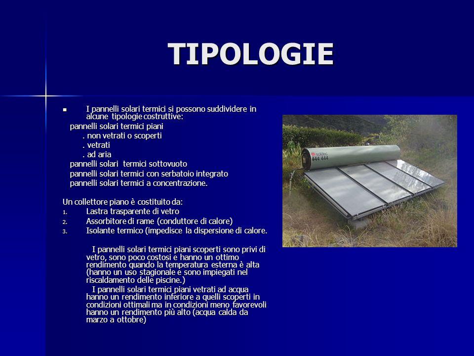 TIPOLOGIE I pannelli solari termici si possono suddividere in alcune tipologie costruttive: pannelli solari termici piani.