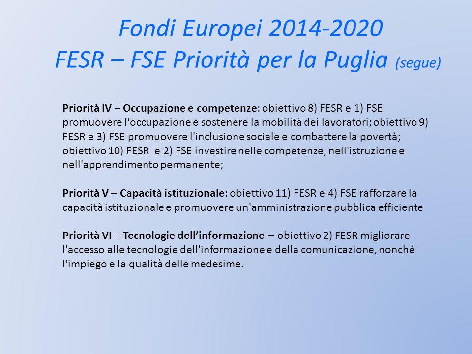 Fondi Europei 2014-2020 FESR – FSE Priorità per la Puglia (segue)