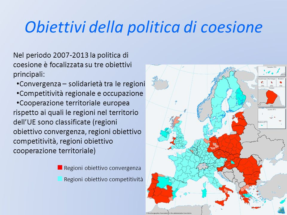 Obiettivi della politica di coesione