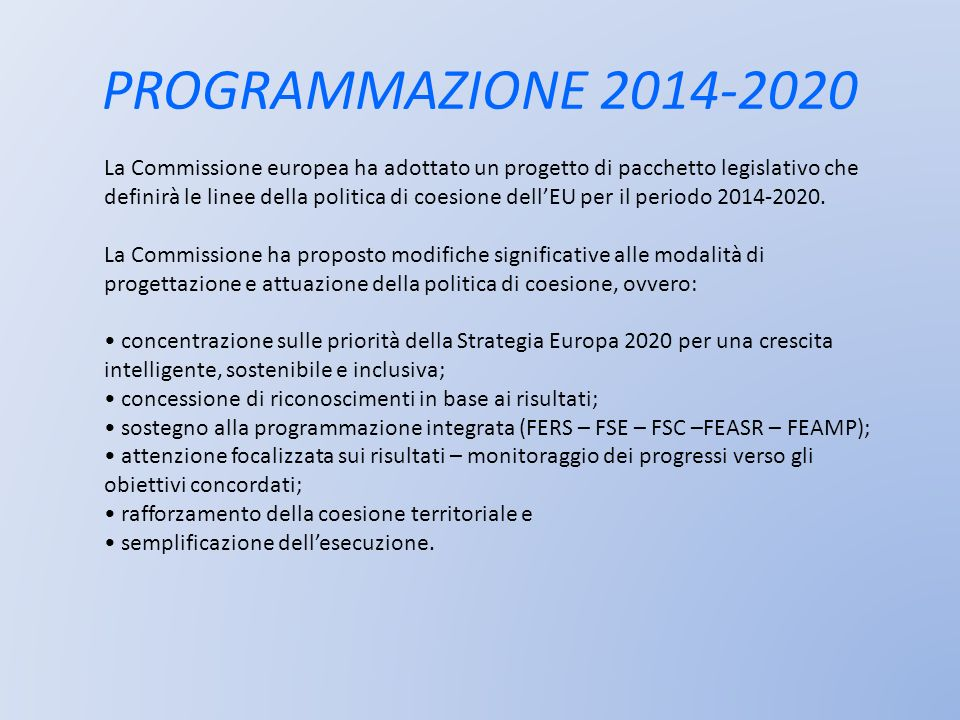 PROGRAMMAZIONE 2014-2020