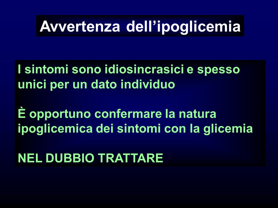 Avvertenza dell'ipoglicemia