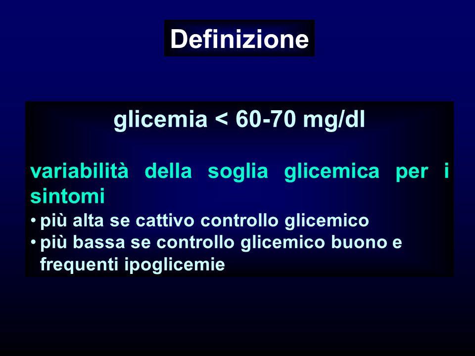 Definizione glicemia < 60-70 mg/dl