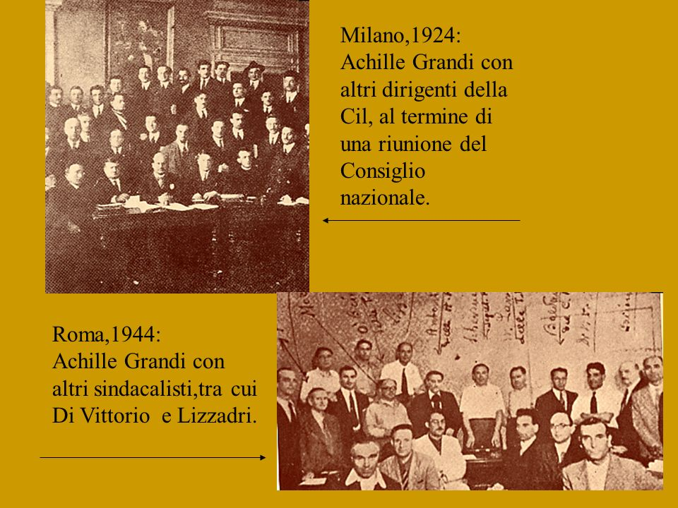 Milano,1924: Achille Grandi con altri dirigenti della Cil, al termine di una riunione del Consiglio nazionale.