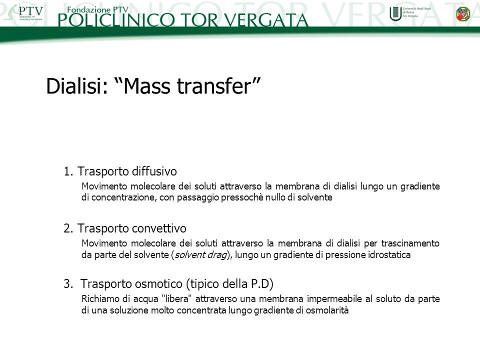 Dialisi: Mass transfer