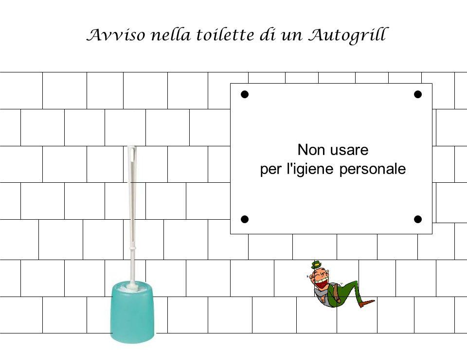 Avviso nella toilette di un Autogrill