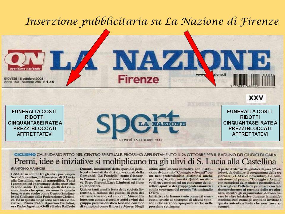 Inserzione pubblicitaria su La Nazione di Firenze