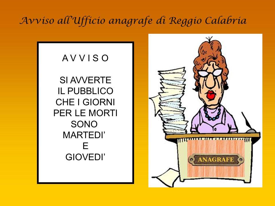 Avviso all'Ufficio anagrafe di Reggio Calabria