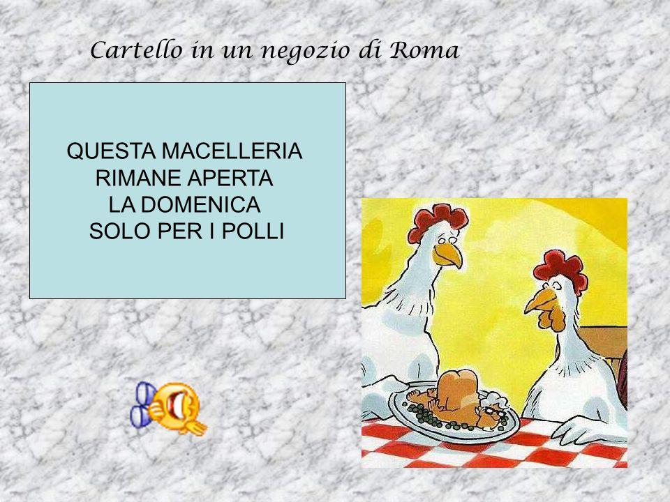Cartello in un negozio di Roma