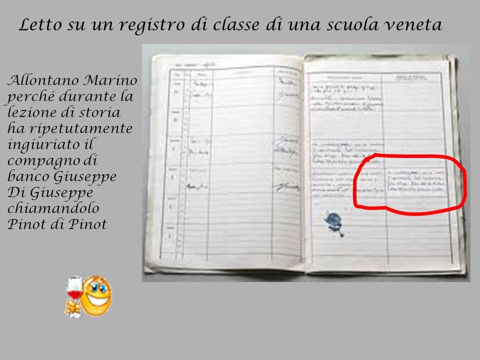 Letto su un registro di classe di una scuola veneta