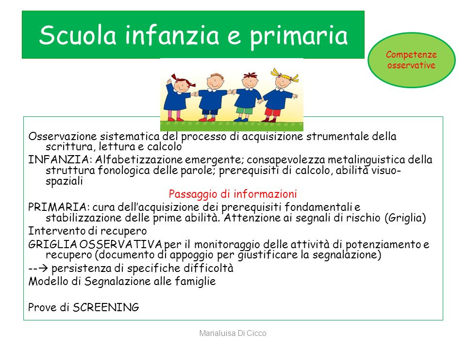Scuola infanzia e primaria